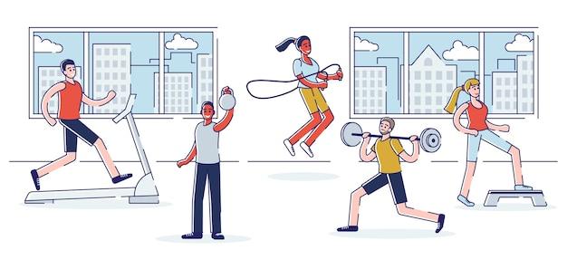 체육관 개념 교육. 사람들의 그룹은 체육관에서 훈련하고 있습니다. 프리미엄 벡터