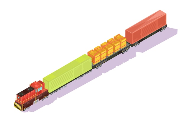 Trains isometric set of freight train with goods and cattle cars on blank background with shadows vector illustration Free Vector