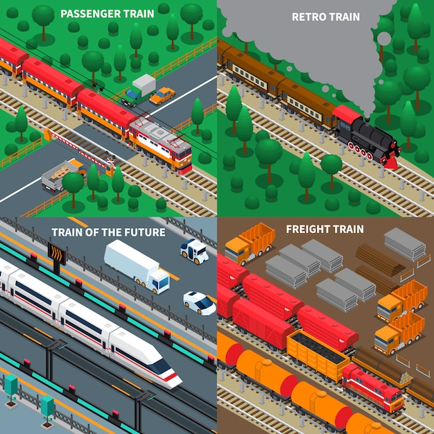 Trains isometric Free Vector