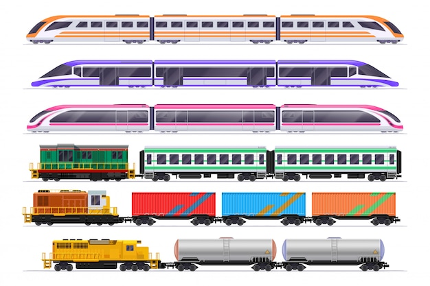 Trains set. passenger and freight train with wagons Premium Vector