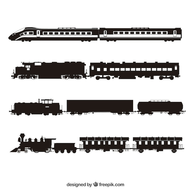 Trains silhouette collection Free Vector