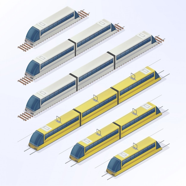 Trains and trams isometric set. modern urban passenger transportation Premium Vector