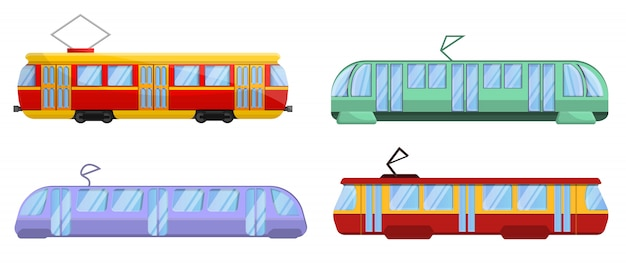 Tram car icons set, cartoon style Premium Vector