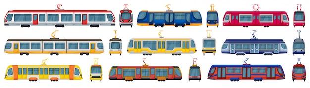 Трамвай мультфильм установить значок. иллюстрация трамвай на белом фоне. мультфильм установить значок трамвая. Premium векторы