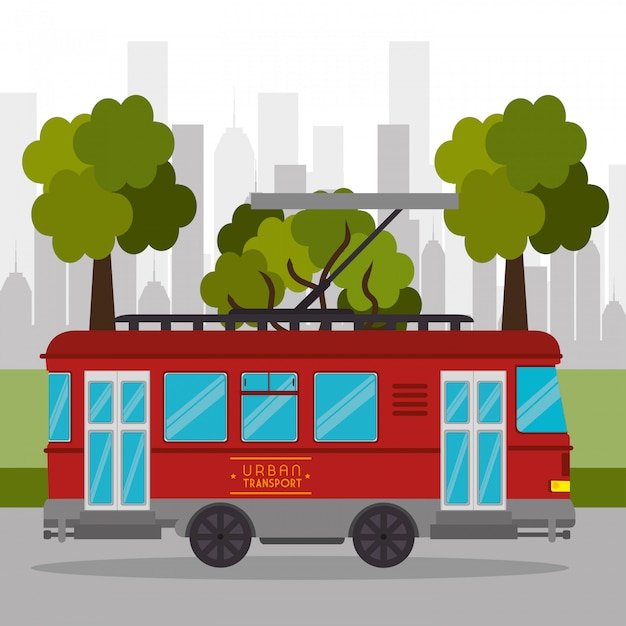Tramway transport retro service urban Free Vector