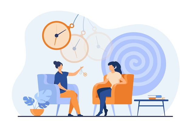 Trance effect on woman during session of hypnosis therapy isolated flat vector illustration. abstract psychedelic whirlpool and chatelaine watch. altered state of mind and unconsciousness concept Free Vector