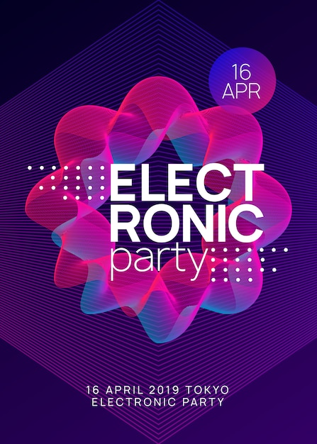 Trance party dj неоновый флаер Premium векторы