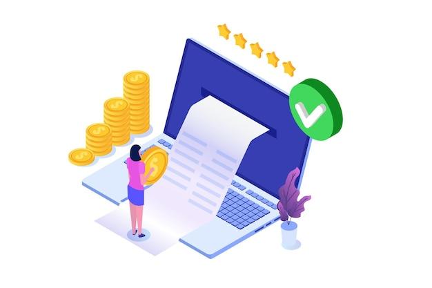 Транзакция одобрена, финансовые операции, безналичный расчет, денежная валюта, платеж изометрическая концепция nfc. Premium векторы