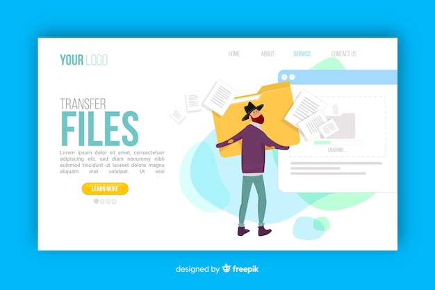 Transfer files concept for landing page Free Vector