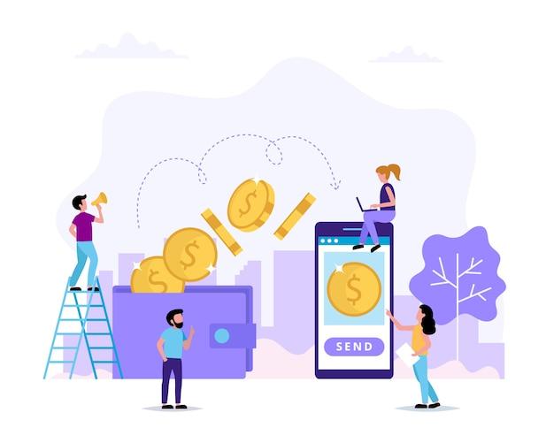 Transfering money, sending money from wallet to smartphone. Premium Vector