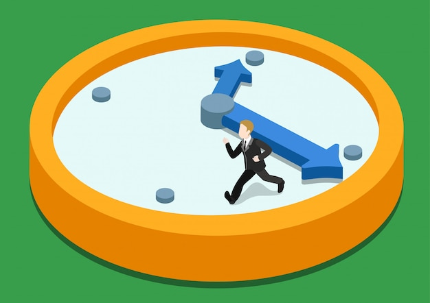 Transience of time rush isometric concept   illustration. business man running away on clock from big hand. Premium Vector