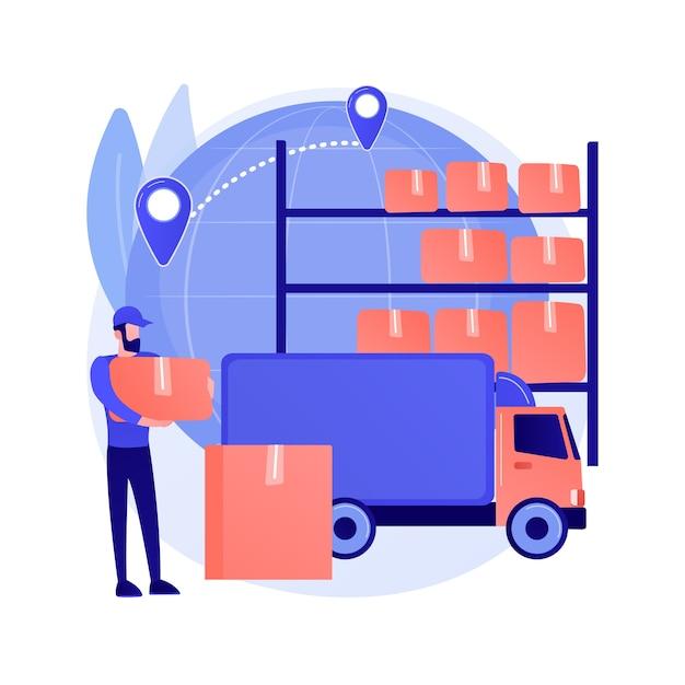トランジット倉庫抽象的な概念ベクトルイラスト。保税倉庫、商品転送、輸送事業、出荷ターミナル、国際ロジスティクス、輸出入の抽象的な比喩。 無料ベクター