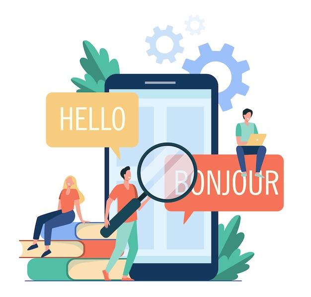 Tradurre l'app sul cellulare. persone che utilizzano il servizio di traduzione online, traducendo dall'inglese al francese. illustrazione vettoriale per l'apprendimento delle lingue straniere, servizio online, concetto di comunicazione Vettore gratuito