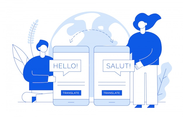 Translation concept with people Premium Vector
