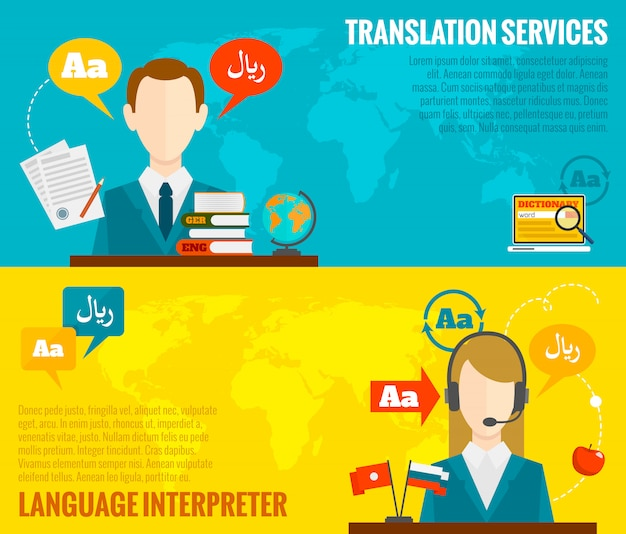 Translation and dictionary banners set flat Free Vector