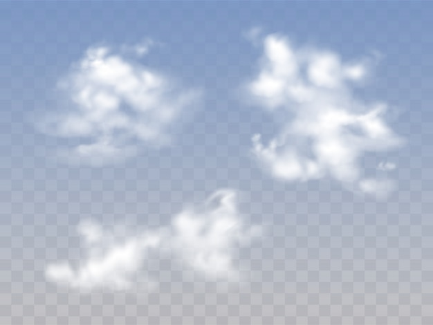 Translucent blue cloudy sky with realistic fluffy clouds
