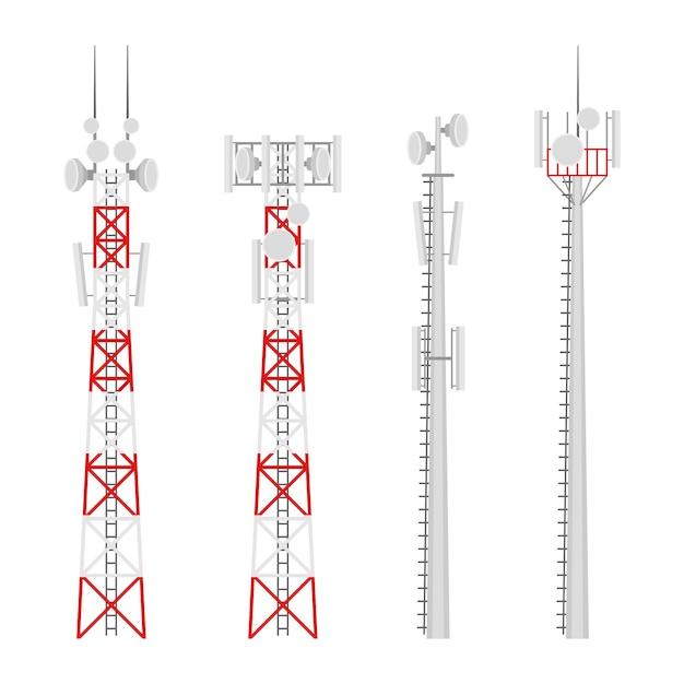 Комплект вышек сотовой связи. вышка мобильной связи с антеннами спутниковой связи. радиовышка для беспроводного подключения. Premium векторы