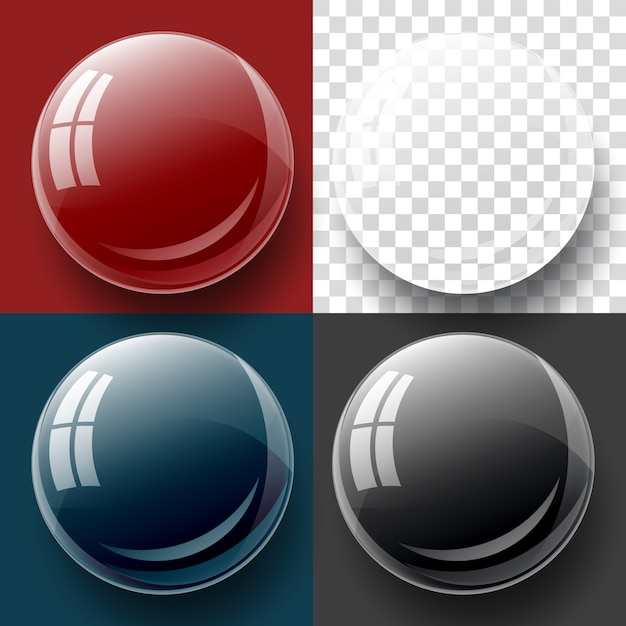 Transparency button and bubble shape. Premium Vector