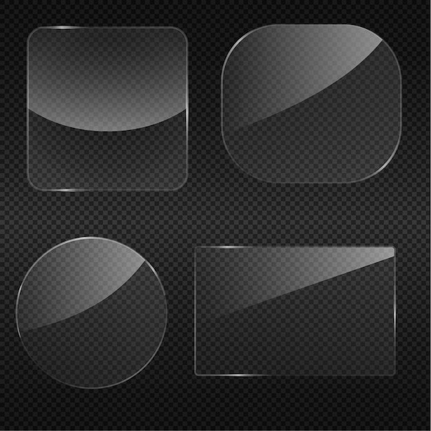 Transparency glass round corner square frame Premium Vector