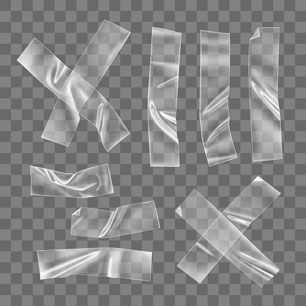 투명 접착 플라스틱 테이프 조각 및 절연 고정 용 십자가. 사진 및 종이 고정 장치 용 구겨진 접착제 플라스틱 스티커 테이프. 3d 현실 주름 된 스트립 벡터 프리미엄 벡터