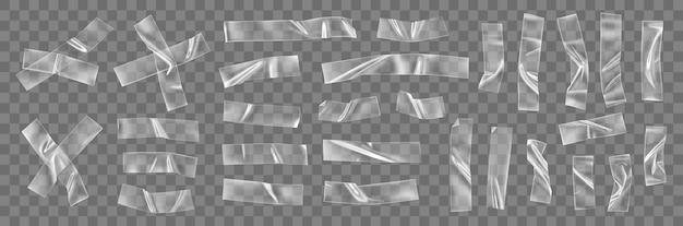 투명 접착 플라스틱 테이프 조각 및 십자가 프리미엄 벡터