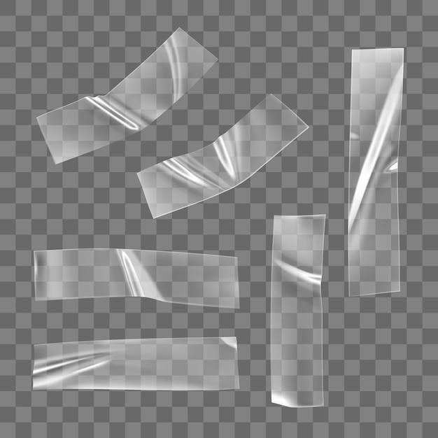투명 접착 플라스틱 테이프 세트 격리. 사진 및 종이 고정 장치 용 구겨진 접착제 플라스틱 스티커 테이프. 고립 된 현실적인 주름 된 스트립 프리미엄 벡터