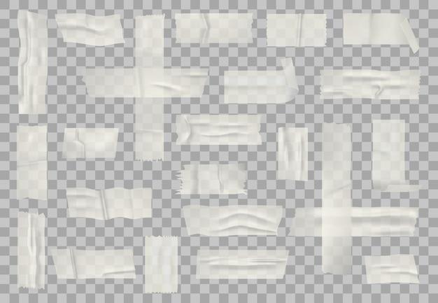 투명 접착 테이프. 스티커 투명 테이프, 접착제 종이 테이프와 스티커 줄무늬 세트. 현실적인 주름 스티커 리본 프리미엄 벡터