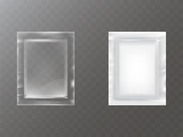 Прозрачный и белый пластик или пакетик из фольги Бесплатные векторы