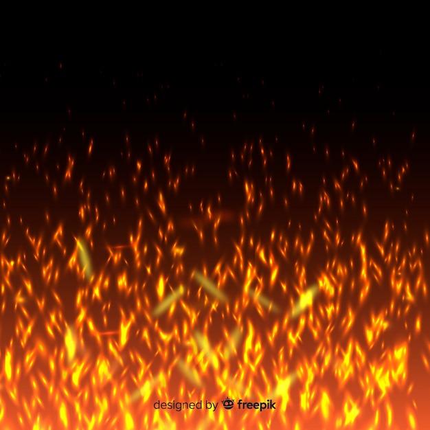 明るい火の火花と透明な背景 無料ベクター