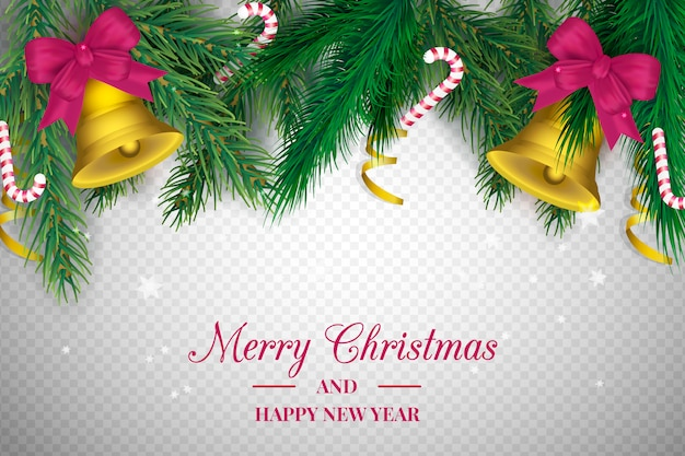 Christmas Transparent Background.Transparent Background With Christmas Decoration Vector