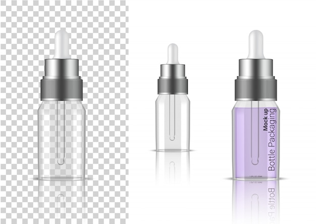 Transparent bottle. 3d realistic dropper cosmetic, oil serum, perfume for skincare product health care packaging and science with metallic cap Premium Vector