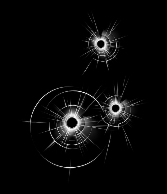 Transparent broken glass window with three bullet holes close up isolated on dark black background Premium Vector