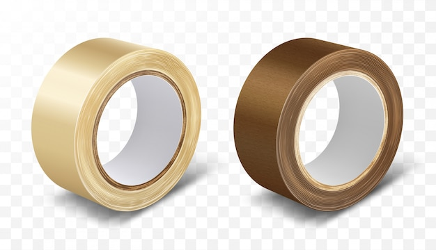 Transparent and brown duct roll adhesive tape Free Vector
