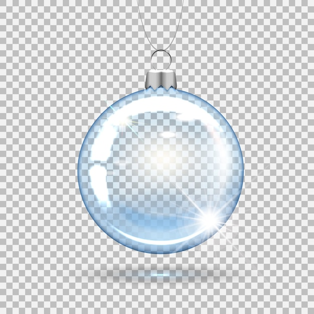Transparent christmas ball for decorating the new year tree. Premium Vector
