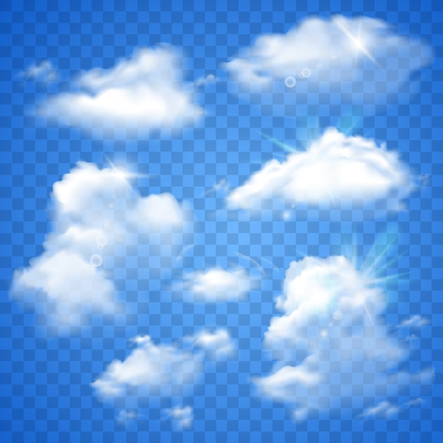 Transparent clouds on blue Free Vector