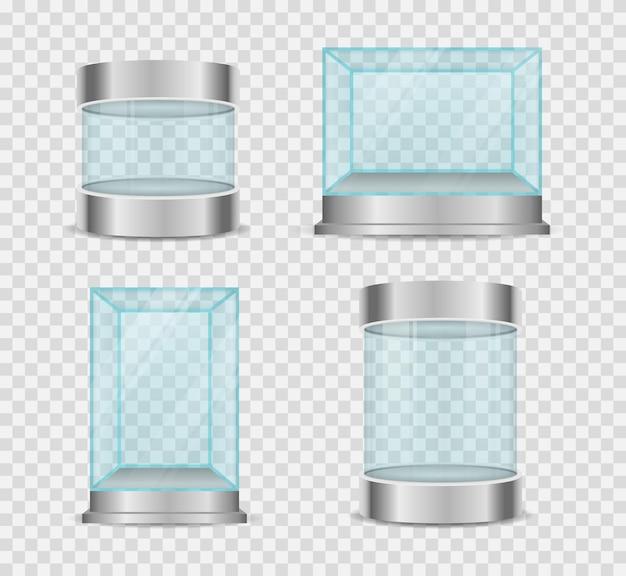 투명한 크리스탈 큐브 및 실린더 빈 쇼케이스 프리미엄 벡터
