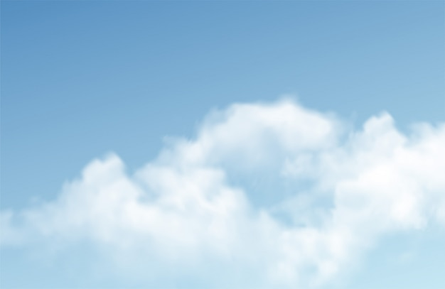 Transparent different clouds  on blue background. real transparency effect. Premium Vector