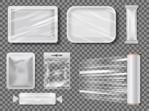 Transparent food packages from polythene. Premium Vector