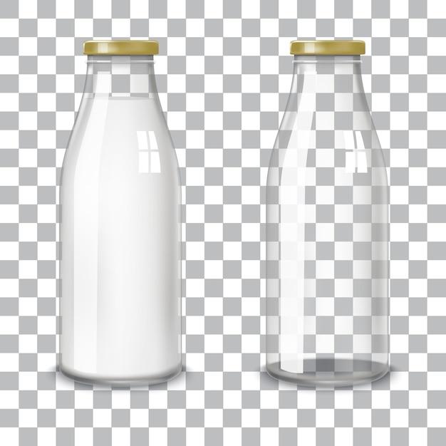 Transparent glass bottles. Premium Vector