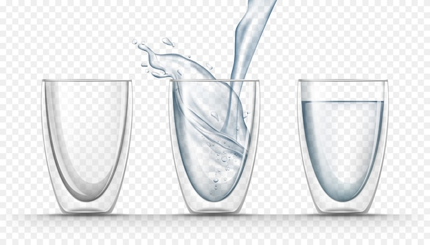 Transparent glass cups with fresh water in realistic style Free Vector