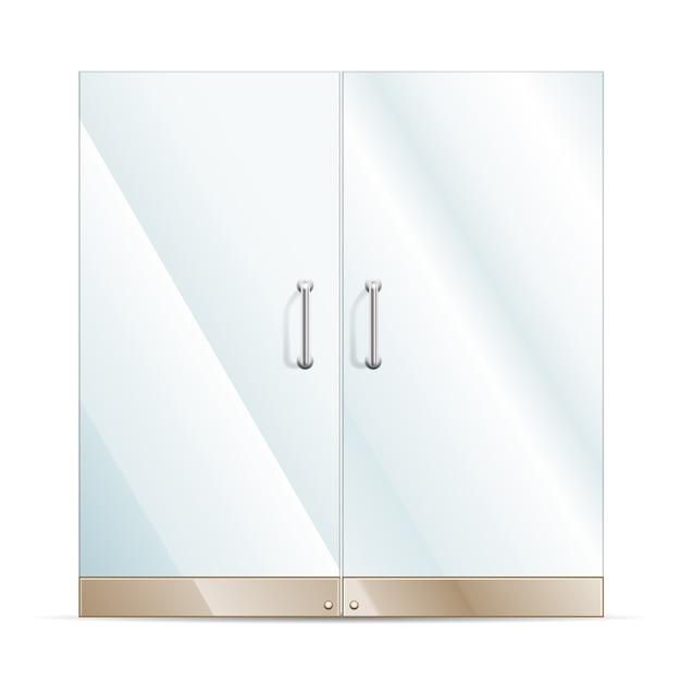 Transparent glass doors Free Vector