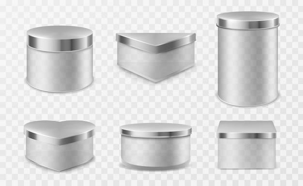 금속 뚜껑이 달린 투명한 유리 용기 무료 벡터