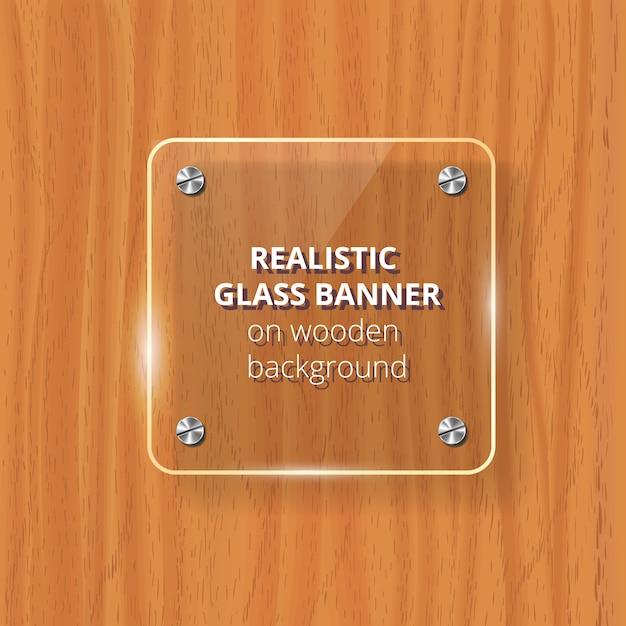 透明なガラス板。茶色の木製の背景。装飾的な要素。反射、影付きのプラスチック光沢のあるパネル。 Premiumベクター