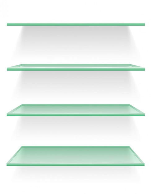 Transparent glass shelf vector illustration Premium Vector