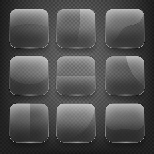 市松模様の背景に透明なガラスの正方形のアプリボタン。空の、光沢のある、光沢のある空白。ベクトルイラストアイコンセット 無料ベクター