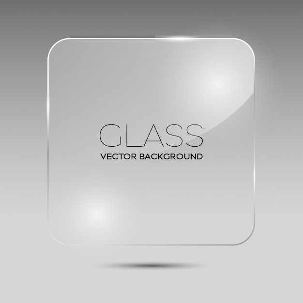 Transparent glass square frame Premium Vector