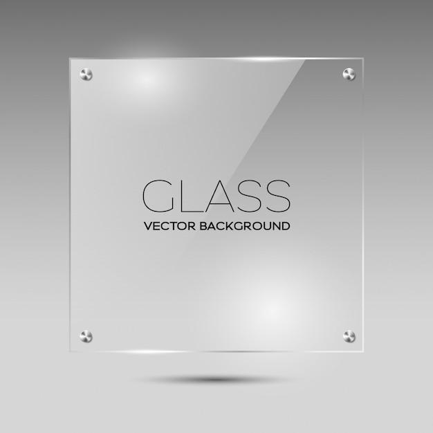 Transparent glass square frame Premium Vector