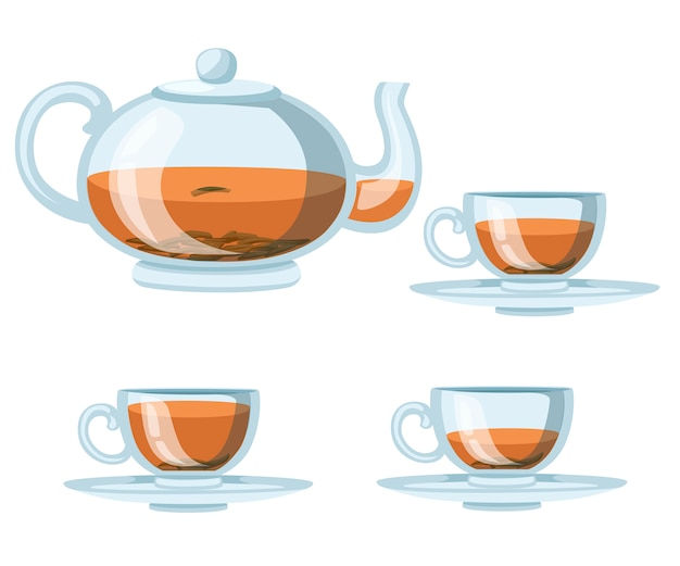 Transparent glass teapot and cups with black tea. green or black tea for , advertising and packaging.   illustration  on white background Premium Vector