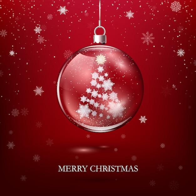 Transparent glossy christmas decoration Premium Vector