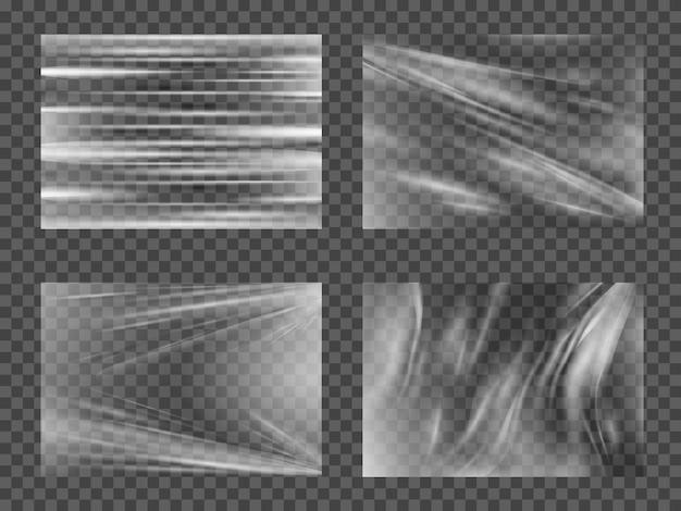 투명 광택 폴리에틸렌 플라스틱 날실 세트. 프리미엄 벡터